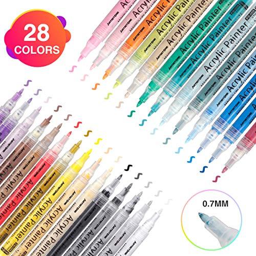 Acrylstifte Metallic Marker Stifte,Wasserfest Acrylfarben Marker Set für Steine